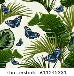 seamless vector tropical... | Shutterstock .eps vector #611245331