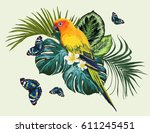 vector tropical  composition... | Shutterstock .eps vector #611245451