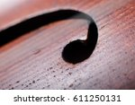 close up details of the f holes ... | Shutterstock . vector #611250131
