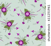 vector floral pattern. colorful ... | Shutterstock .eps vector #611251961