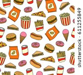 seamless pattern with colorful... | Shutterstock .eps vector #611255849