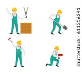 construction worker character... | Shutterstock .eps vector #611256341