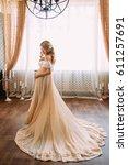 pretty pregnant woman in  long...   Shutterstock . vector #611257691