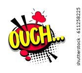 lettering ouch  oops. comic... | Shutterstock .eps vector #611258225