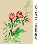 roses  drawn in ink  in the... | Shutterstock . vector #611259191