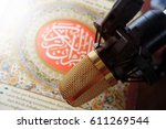 reading recite quran islamic... | Shutterstock . vector #611269544