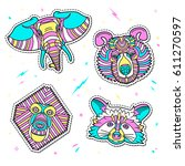 set of fashion animal patches.... | Shutterstock .eps vector #611270597