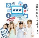 children holding network...   Shutterstock . vector #611272109