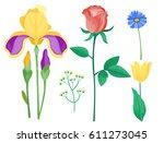 cartoon petal vintage floral... | Shutterstock .eps vector #611273045