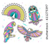 set of fashion birds patches.... | Shutterstock .eps vector #611275397