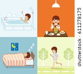 healthy lifestyle set   teenage ... | Shutterstock .eps vector #611278175