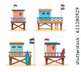 set of cartoon lifeguard towers ... | Shutterstock .eps vector #611280929