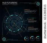 set of interface futuristic hud | Shutterstock .eps vector #611281811