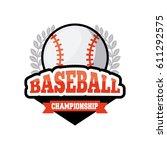 emblem of baseball sport with... | Shutterstock .eps vector #611292575