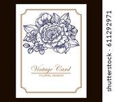 vintage delicate invitation... | Shutterstock .eps vector #611292971
