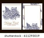 vintage delicate invitation... | Shutterstock .eps vector #611293019