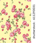 seamless pattern of small roses | Shutterstock .eps vector #611293031