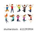 happy people having fun over... | Shutterstock .eps vector #611293904