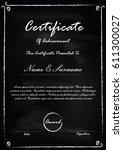 blackboard certificate template ...   Shutterstock .eps vector #611300027