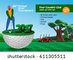golf player standing on golf... | Shutterstock .eps vector #611305511