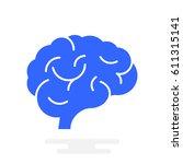 brain icon flat. | Shutterstock .eps vector #611315141