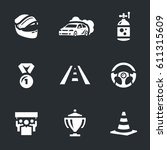 vector set of auto rally icons. | Shutterstock .eps vector #611315609