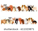 border of small dogs set  | Shutterstock .eps vector #611323871