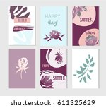 set of artistic creative summer ... | Shutterstock .eps vector #611325629