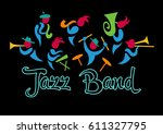 logo for jazz band. cheerful... | Shutterstock .eps vector #611327795