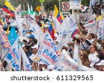 Small photo of Quito, Ecuador - March 26, 2017: Supporters holding flags and insignias supporting Guillermo Lasso, presidential candidate of CREO SUMA alliance in his election campaign