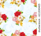 seamless floral pattern with... | Shutterstock .eps vector #611330405