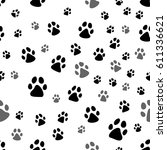 paw print seamless. traces of... | Shutterstock .eps vector #611336621