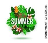 hello summer typographical... | Shutterstock .eps vector #611336801