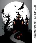 scary halloween background with ... | Shutterstock . vector #61134268