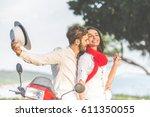 portrait of happy young love... | Shutterstock . vector #611350055