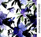 bouquet from pansies  pattern   Shutterstock . vector #611355485