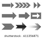dotted arrow icon set..vector... | Shutterstock .eps vector #611356871