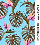 seamless tropical flower  plant ... | Shutterstock . vector #611358965