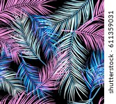 seamless tropical leaves  plant ... | Shutterstock . vector #611359031