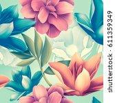 seamless tropical flower  plant ... | Shutterstock . vector #611359349