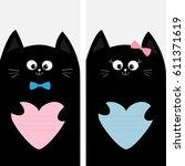 black cat kitty family holding...   Shutterstock . vector #611371619