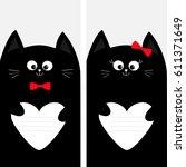 black cat kitty family holding...   Shutterstock . vector #611371649