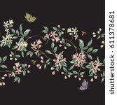 embroidery seamless floral... | Shutterstock .eps vector #611378681