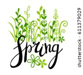 spring lettering with green... | Shutterstock .eps vector #611379029