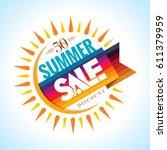 summer sale banner design... | Shutterstock .eps vector #611379959