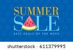 summer sale banner design... | Shutterstock .eps vector #611379995