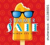 summer sale banner design... | Shutterstock .eps vector #611380001