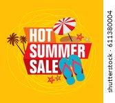 summer sale banner design...   Shutterstock .eps vector #611380004