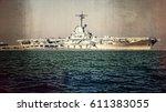 world war ii aircraft carrier... | Shutterstock . vector #611383055