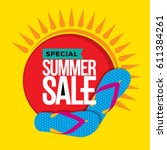 summer sale banner design... | Shutterstock .eps vector #611384261